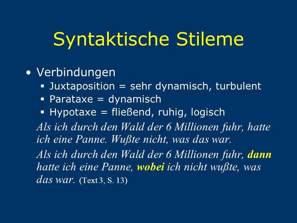 Syntaktische Stileme Verbindungen