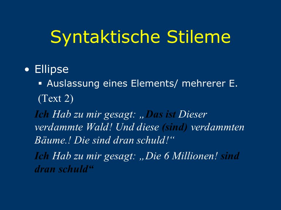 Syntaktische Stileme Ellipse (Text 2)