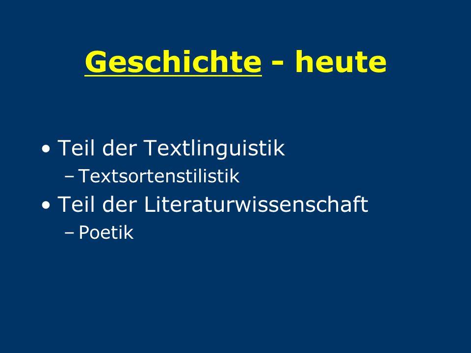 Geschichte - heute Teil der Textlinguistik