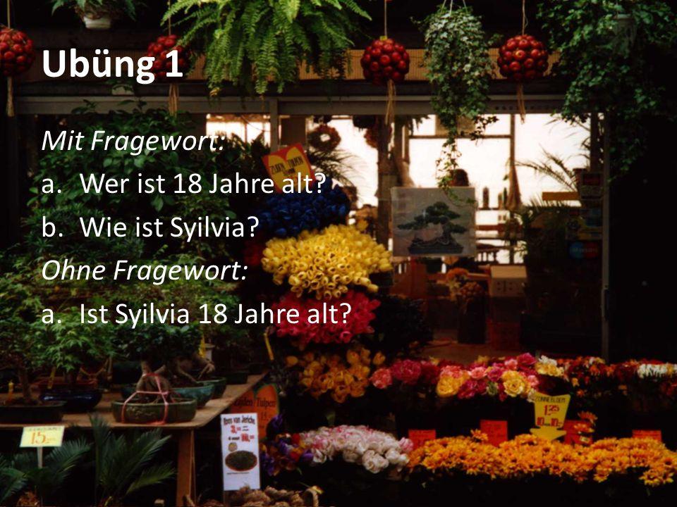 Ubüng 1 Mit Fragewort: Wer ist 18 Jahre alt Wie ist Syilvia