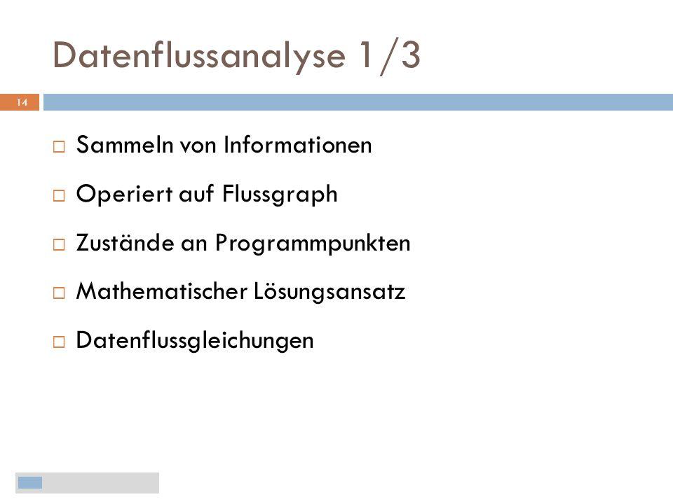 Datenflussanalyse 1/3 Sammeln von Informationen