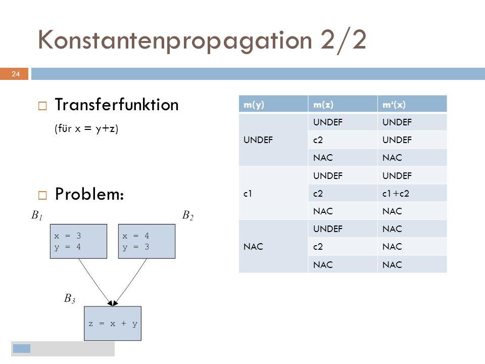 Konstantenpropagation 2/2