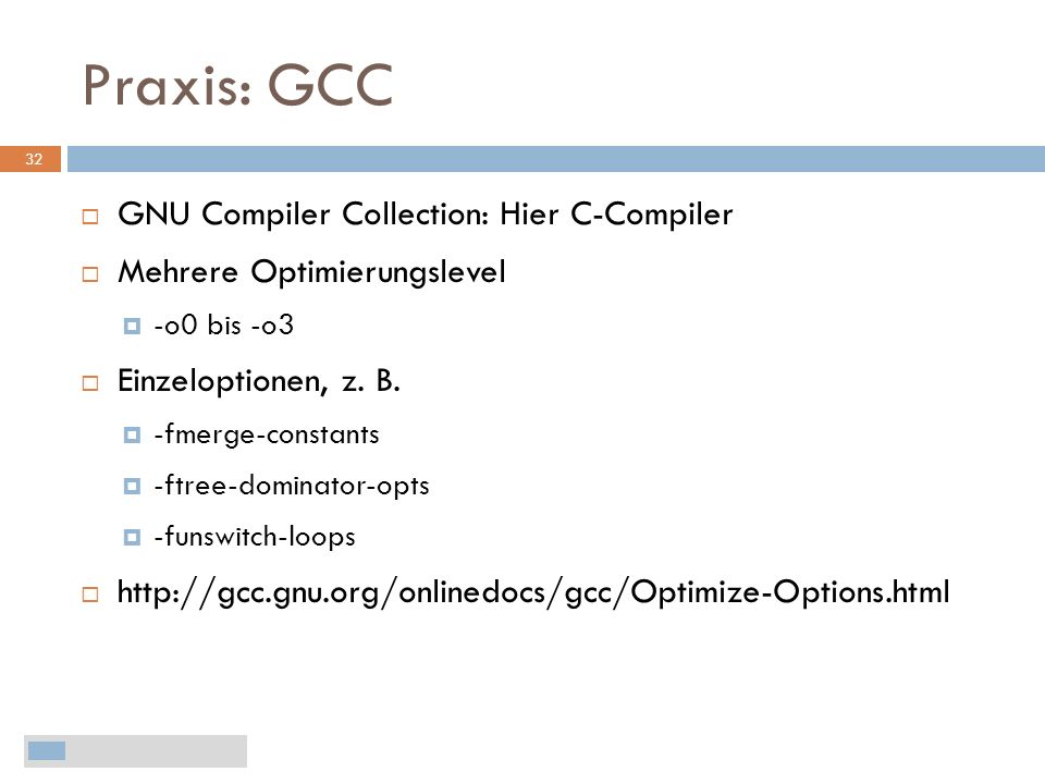 Praxis: GCC GNU Compiler Collection: Hier C-Compiler
