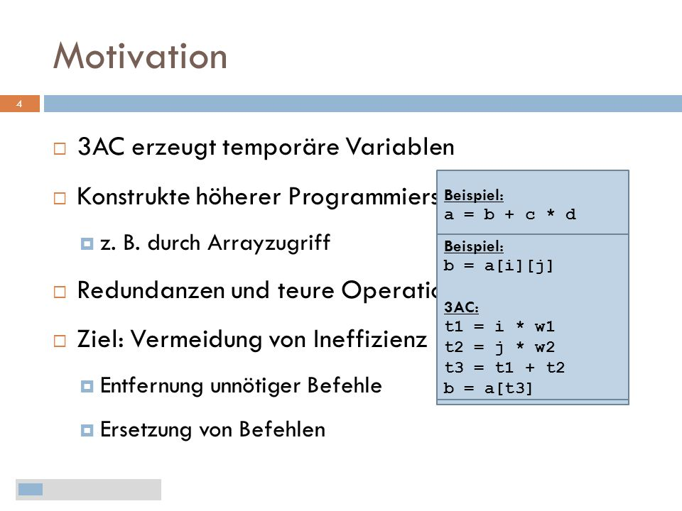Motivation 3AC erzeugt temporäre Variablen