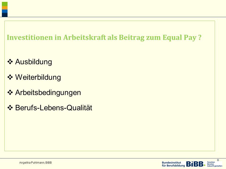 Investitionen in Arbeitskraft als Beitrag zum Equal Pay Ausbildung
