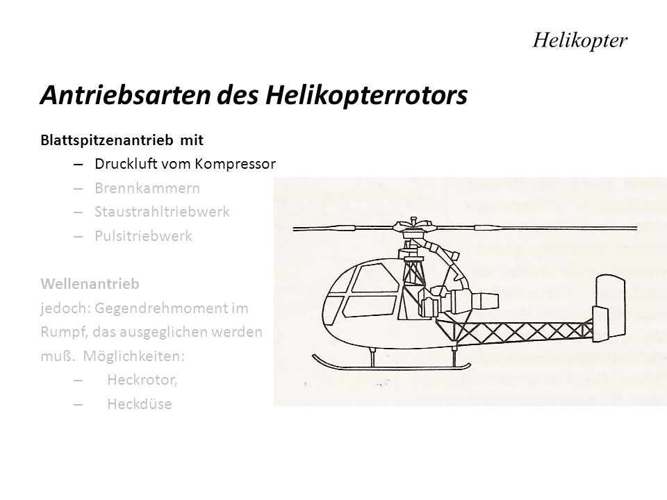 Antriebsarten des Helikopterrotors