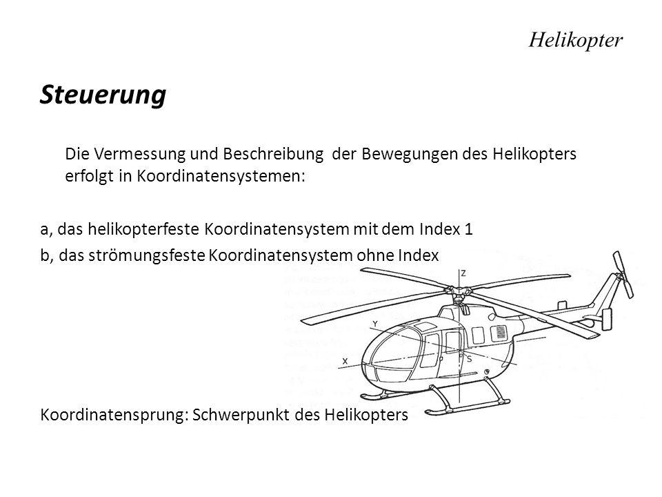 Helikopter Steuerung. Die Vermessung und Beschreibung der Bewegungen des Helikopters erfolgt in Koordinatensystemen: