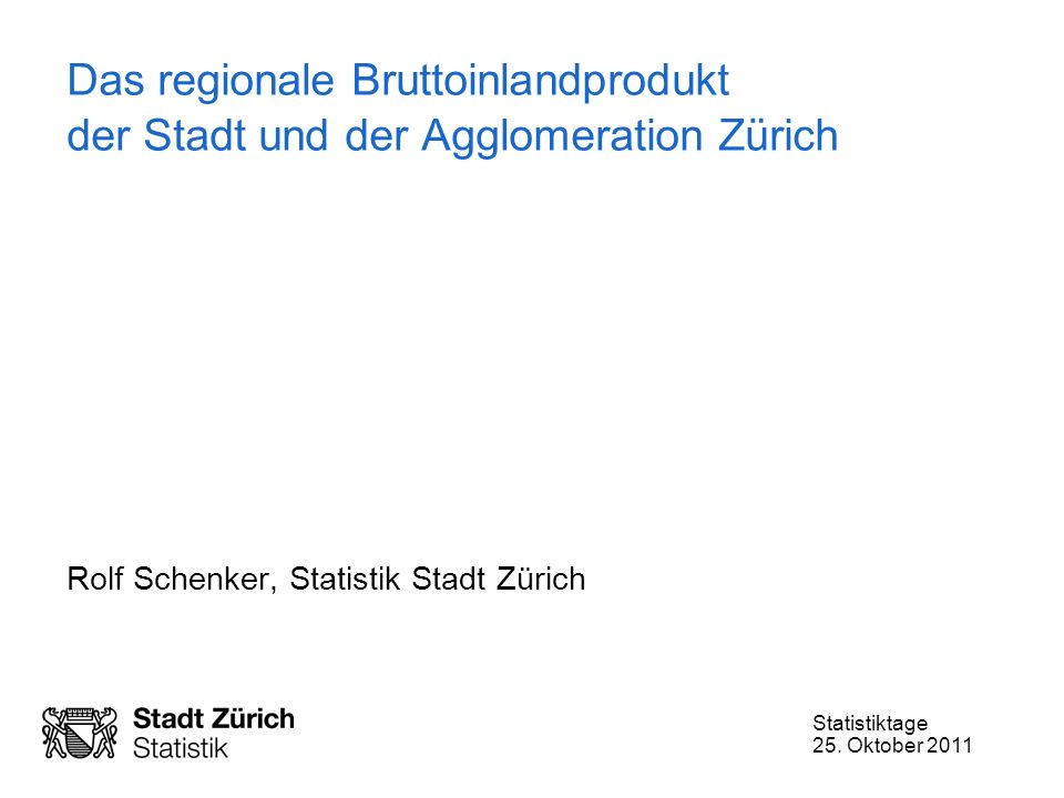 Rolf Schenker, Statistik Stadt Zürich