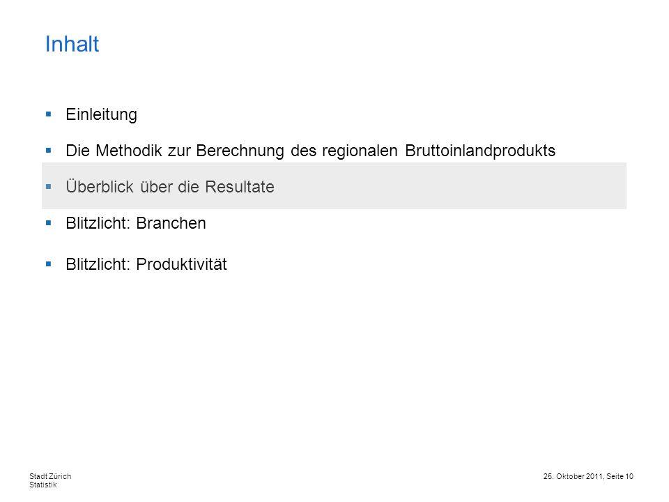 Inhalt Einleitung. Die Methodik zur Berechnung des regionalen Bruttoinlandprodukts. Überblick über die Resultate.