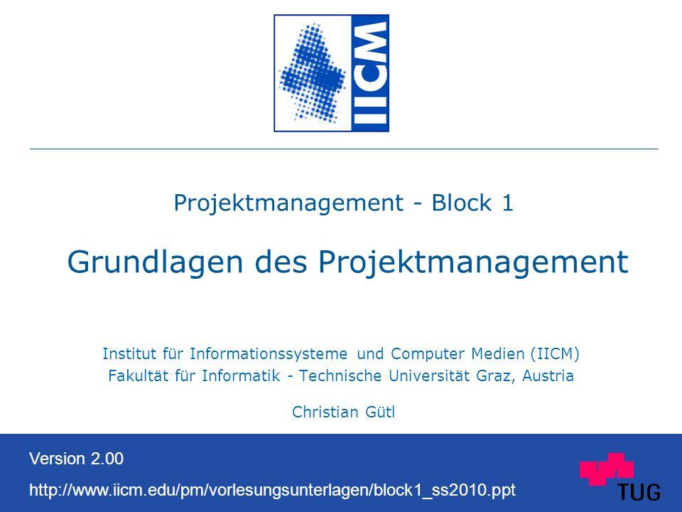 Projektmanagement - Block 1 Grundlagen des Projektmanagement