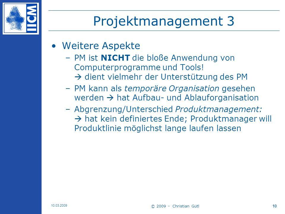 Projektmanagement 3 Weitere Aspekte