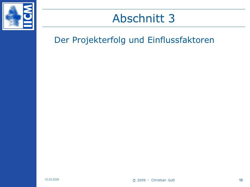 Abschnitt 3 Der Projekterfolg und Einflussfaktoren