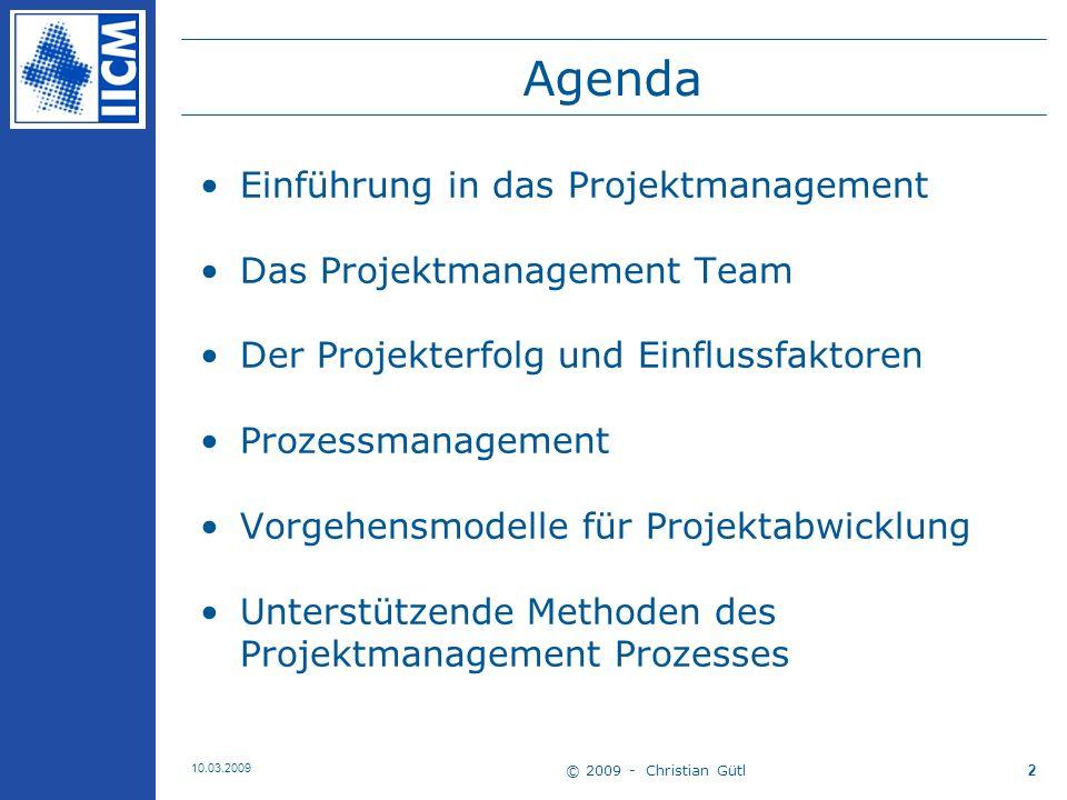 Agenda Einführung in das Projektmanagement Das Projektmanagement Team