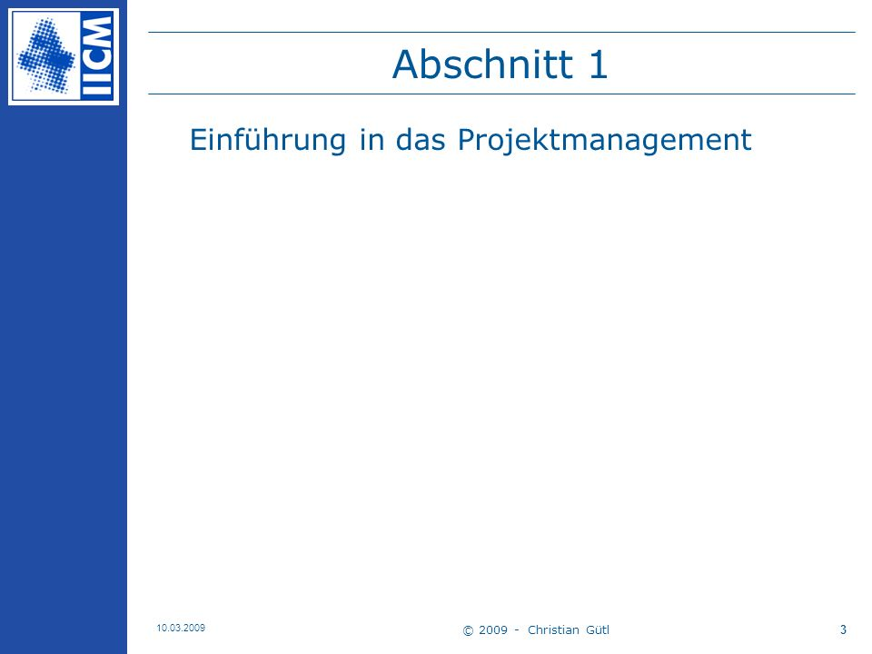 Abschnitt 1 Einführung in das Projektmanagement