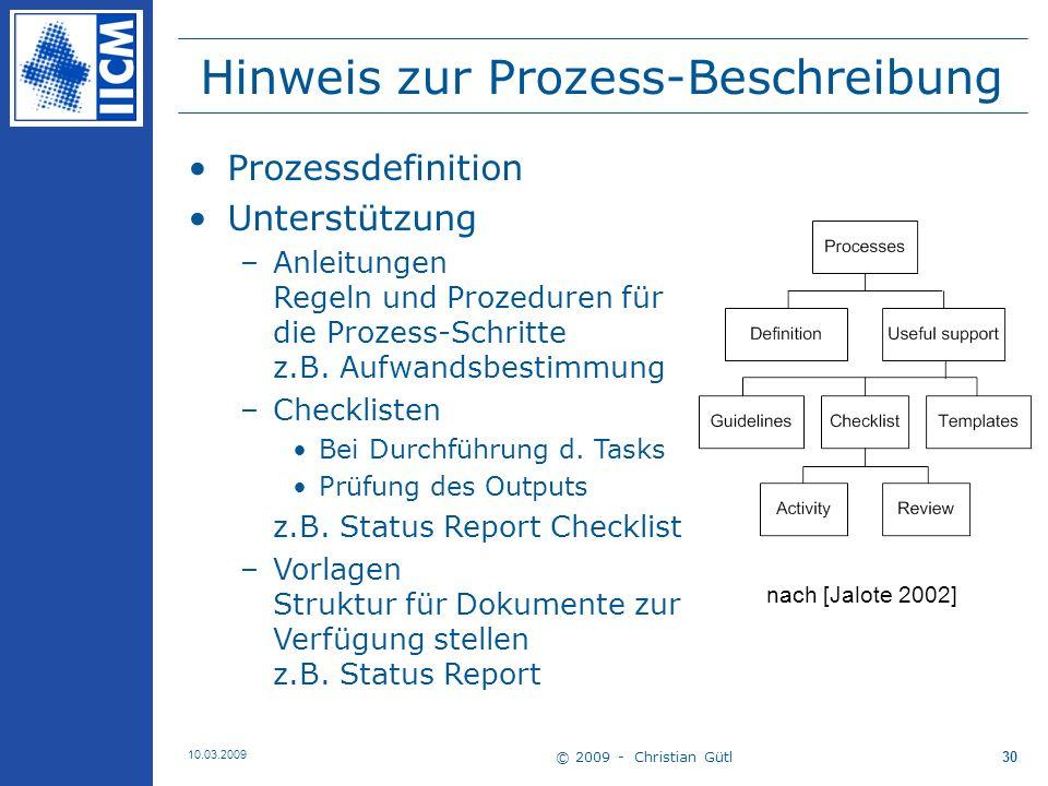 Hinweis zur Prozess-Beschreibung