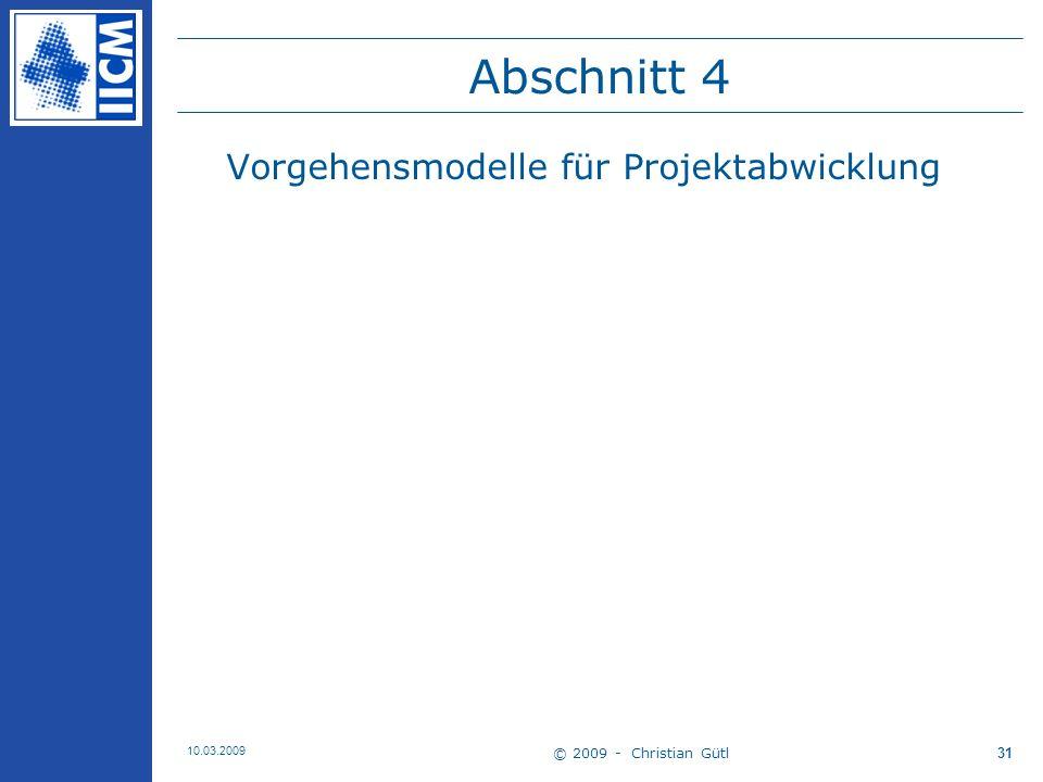 Abschnitt 4 Vorgehensmodelle für Projektabwicklung