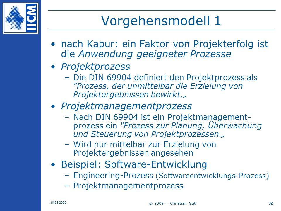 Vorgehensmodell 1 nach Kapur: ein Faktor von Projekterfolg ist die Anwendung geeigneter Prozesse. Projektprozess.