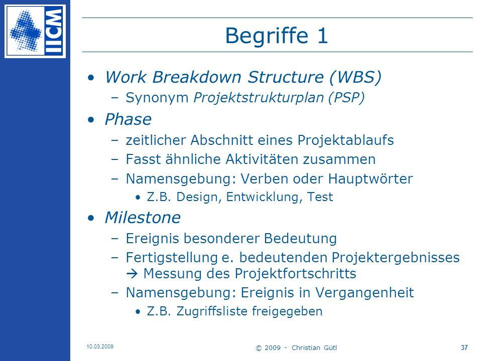 Begriffe 1 Work Breakdown Structure (WBS) Phase Milestone