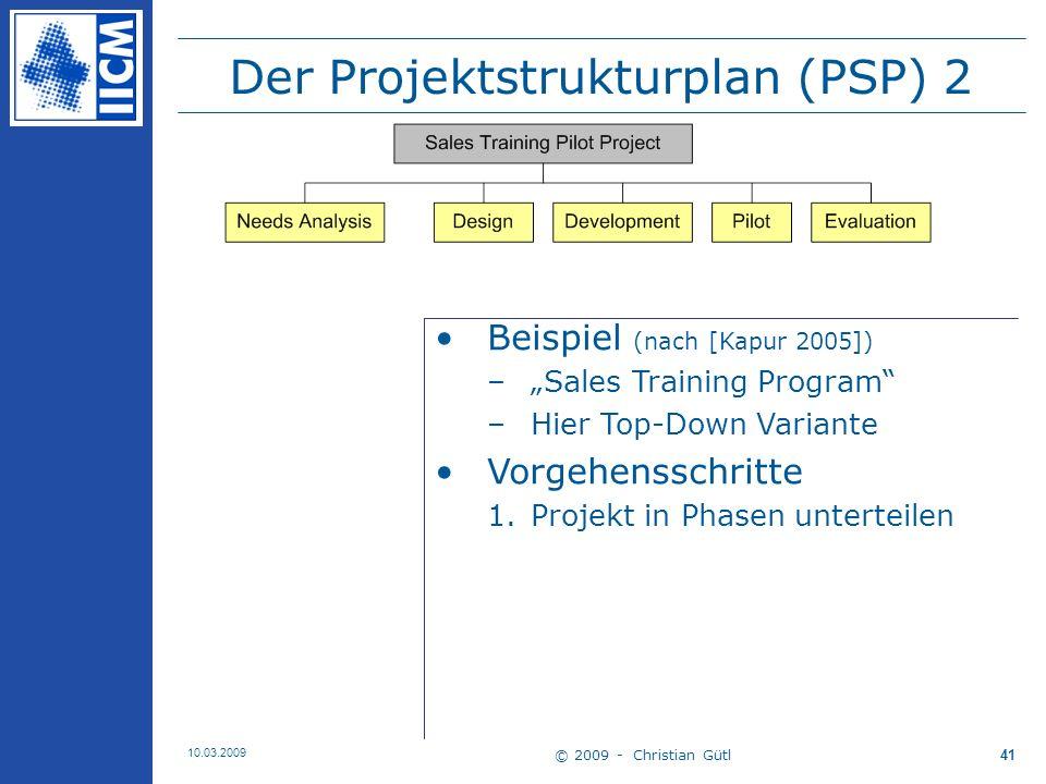 Der Projektstrukturplan (PSP) 2