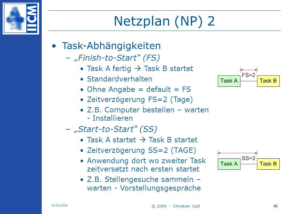 """Netzplan (NP) 2 Task-Abhängigkeiten """"Finish-to-Start (FS)"""