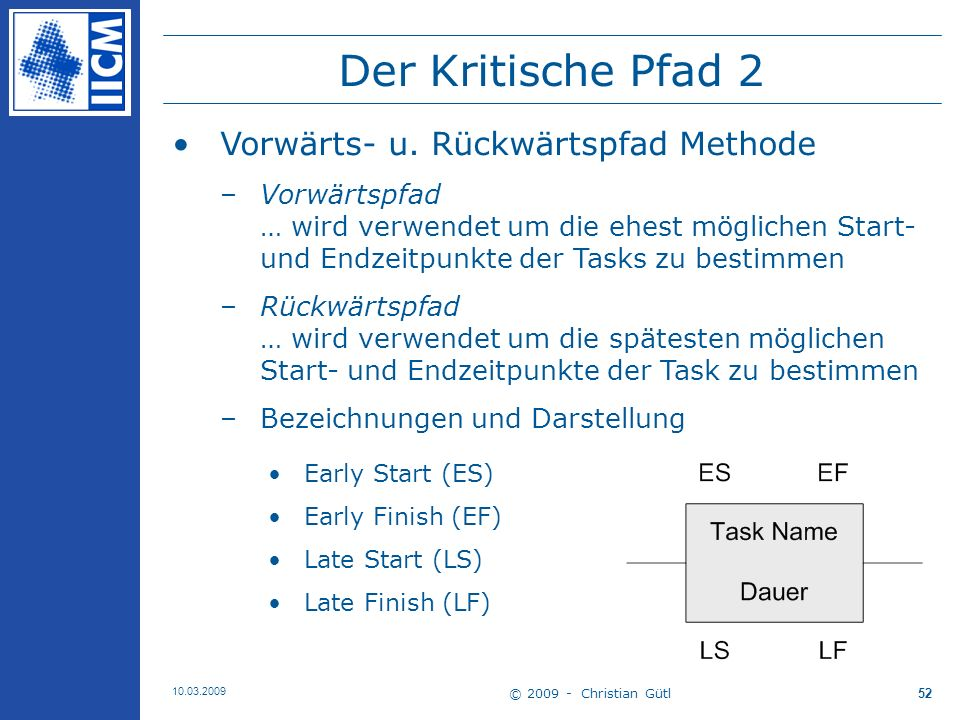 Der Kritische Pfad 2 Vorwärts- u. Rückwärtspfad Methode
