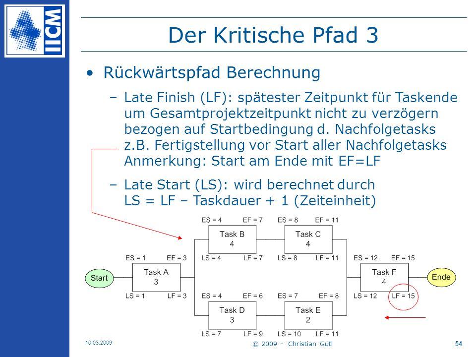 Der Kritische Pfad 3 Rückwärtspfad Berechnung