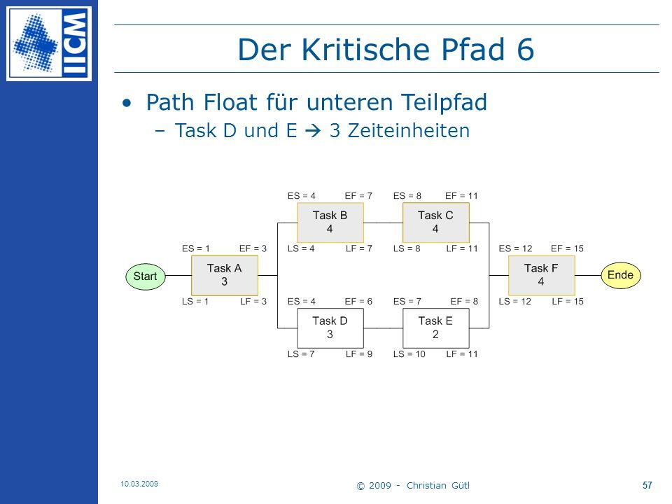 Der Kritische Pfad 6 Path Float für unteren Teilpfad