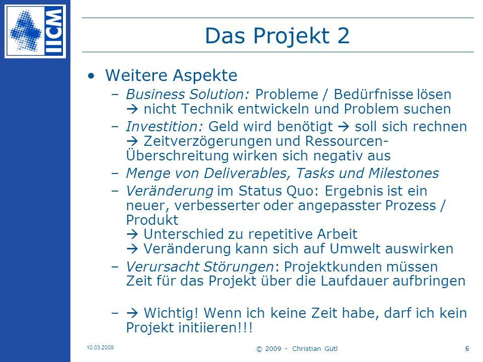 Das Projekt 2 Weitere Aspekte