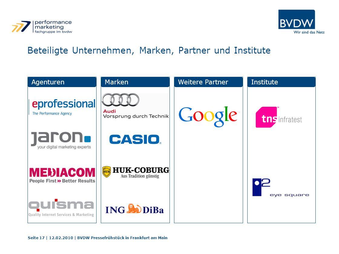 Beteiligte Unternehmen, Marken, Partner und Institute