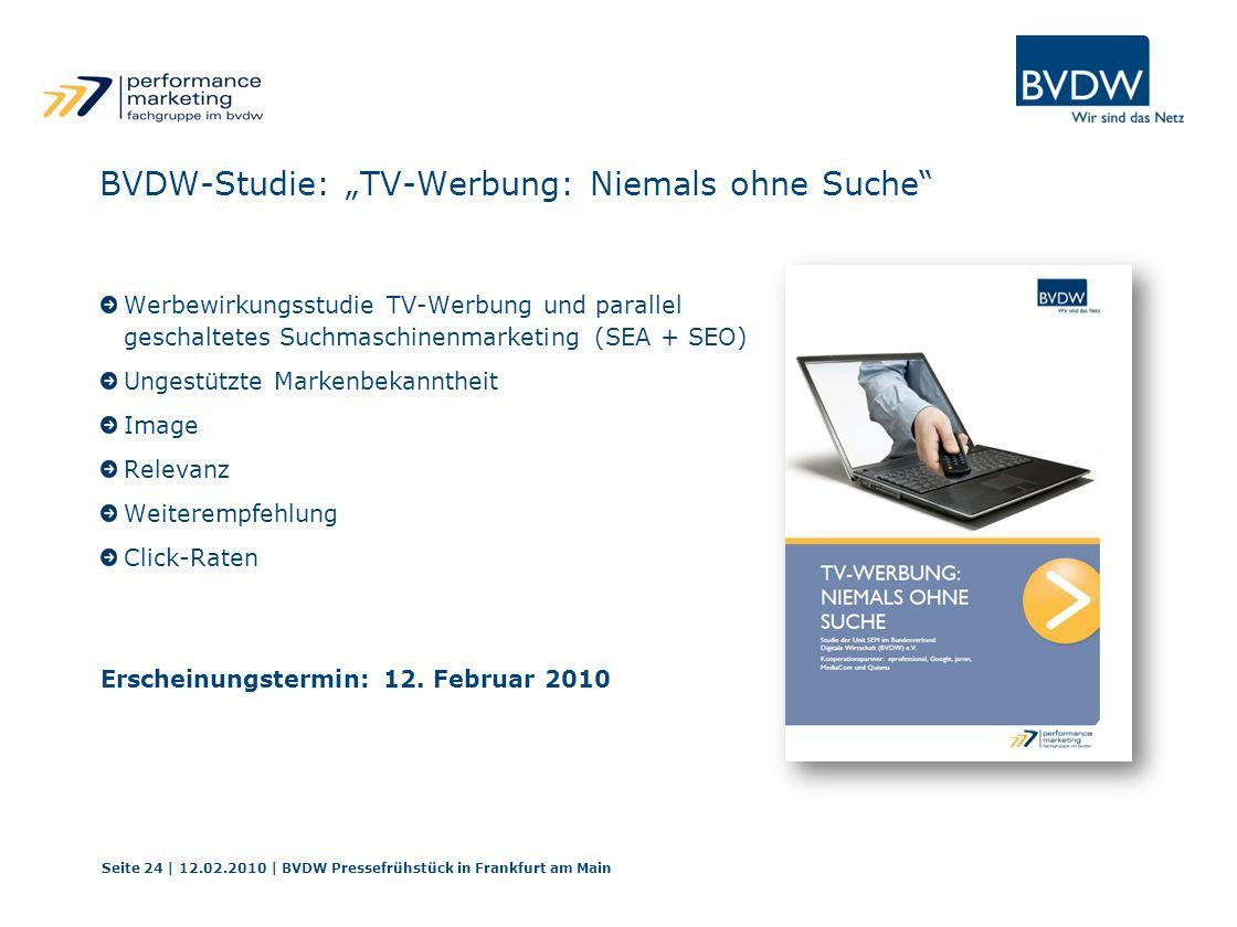 """BVDW-Studie: """"TV-Werbung: Niemals ohne Suche"""