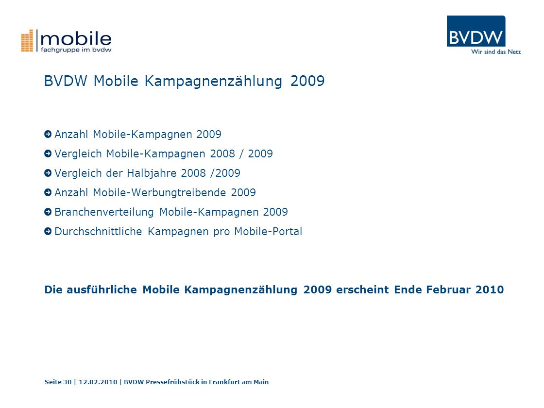 BVDW Mobile Kampagnenzählung 2009