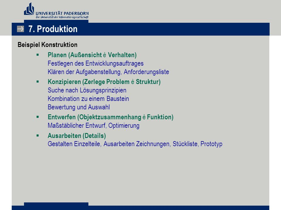 7. Produktion Beispiel Konstruktion