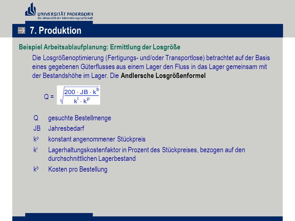 7. Produktion Beispiel Arbeitsablaufplanung: Ermittlung der Losgröße