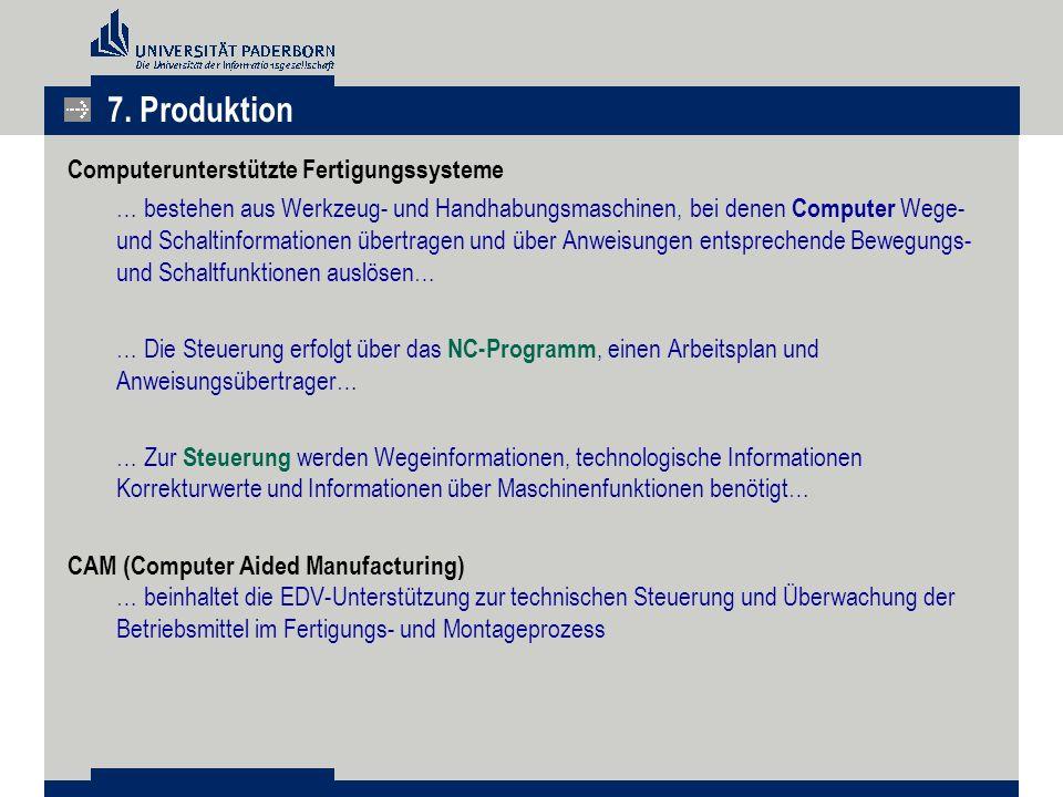 7. Produktion Computerunterstützte Fertigungssysteme