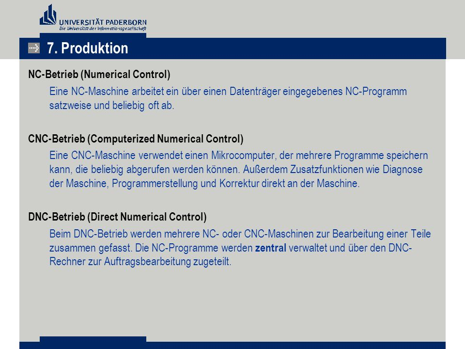 7. Produktion NC-Betrieb (Numerical Control)