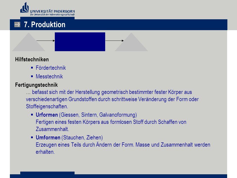 7. Produktion Hilfstechniken Fördertechnik Messtechnik
