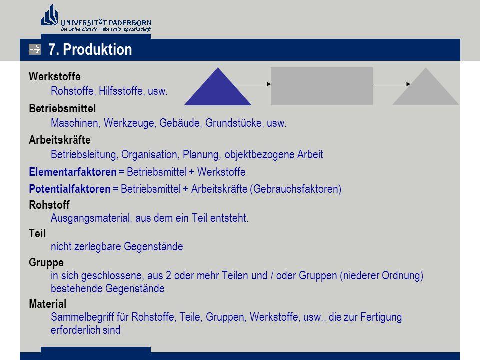 7. Produktion Werkstoffe Rohstoffe, Hilfsstoffe, usw.