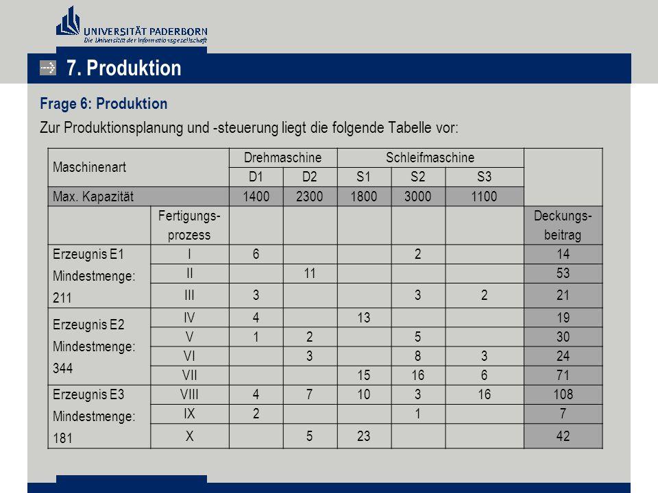 7. Produktion Frage 6: Produktion Zur Produktionsplanung und -steuerung liegt die folgende Tabelle vor: