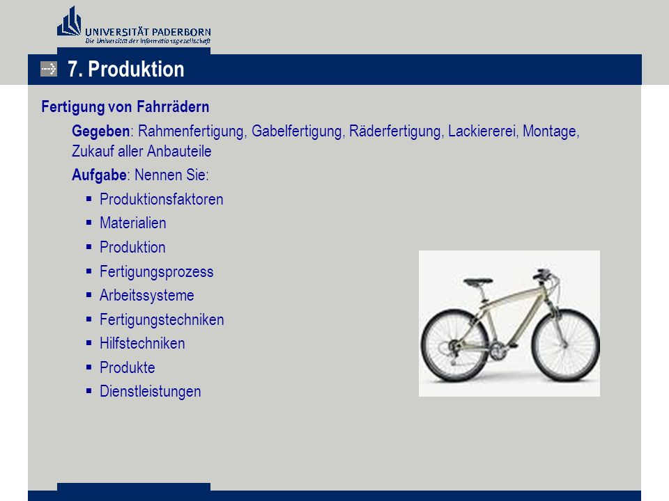 7. Produktion Fertigung von Fahrrädern