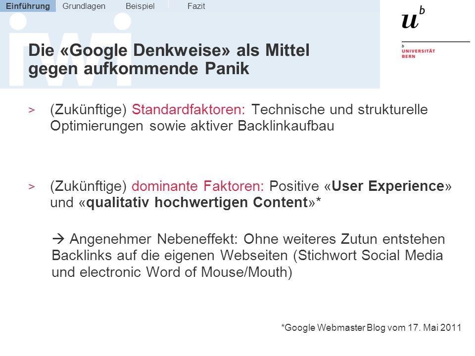 Die «Google Denkweise» als Mittel gegen aufkommende Panik
