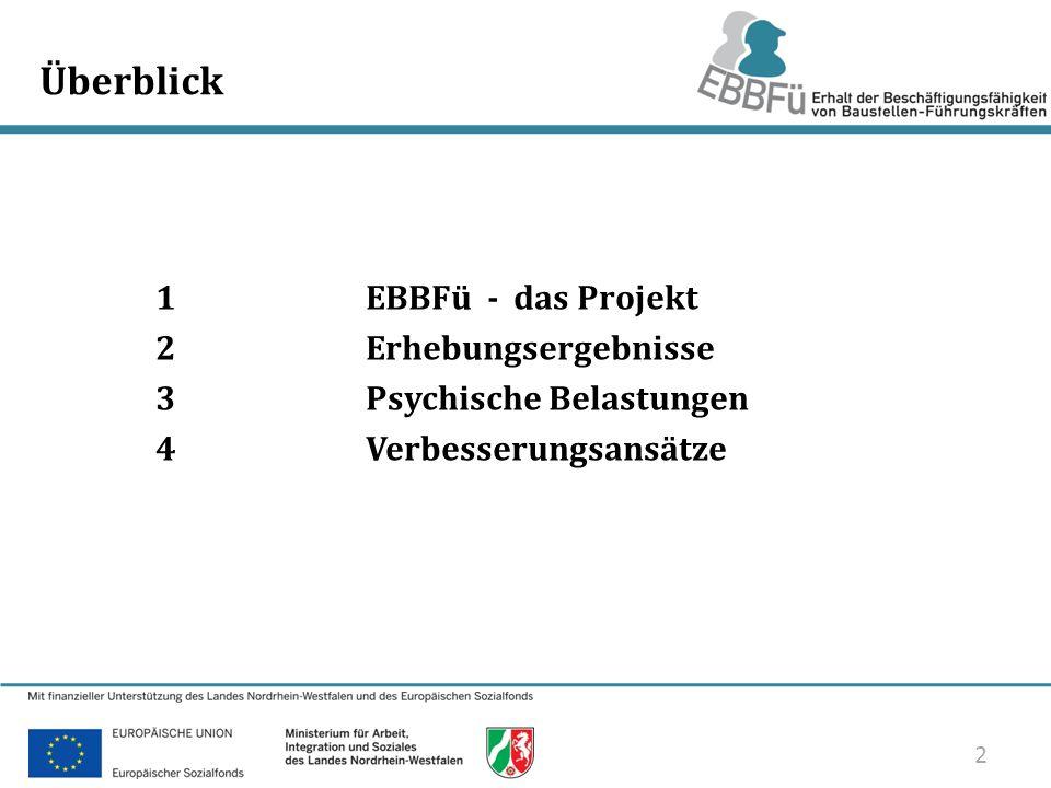 Überblick 1 EBBFü - das Projekt 2 Erhebungsergebnisse 3 Psychische Belastungen 4 Verbesserungsansätze