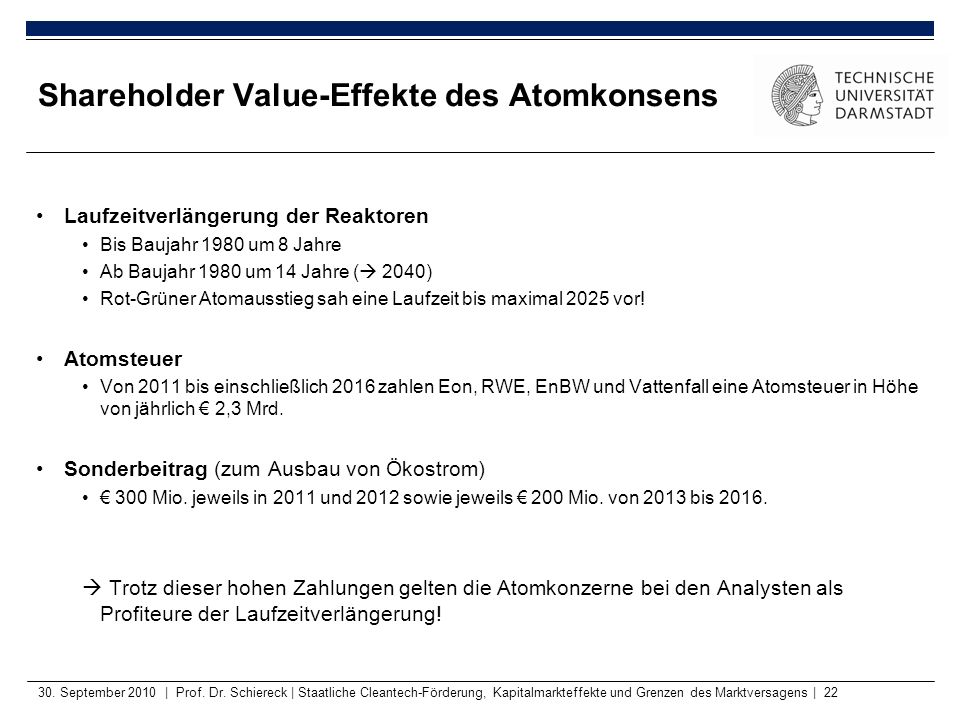 Shareholder Value-Effekte des Atomkonsens