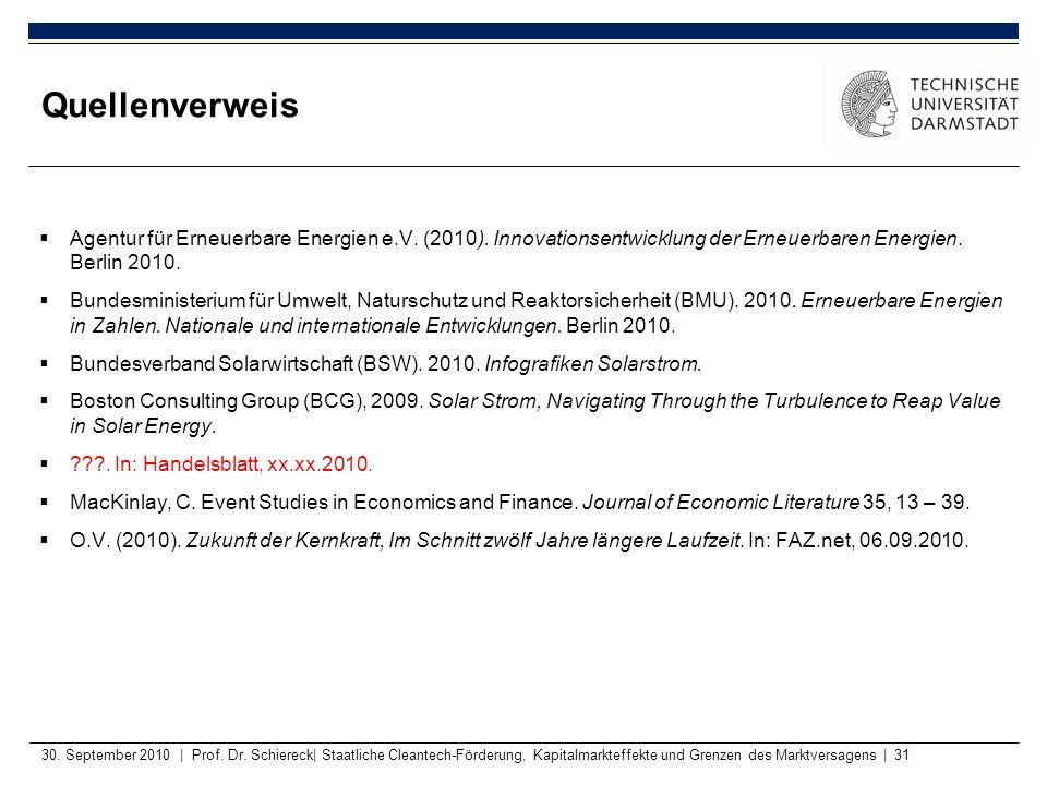 Quellenverweis Agentur für Erneuerbare Energien e.V. (2010). Innovationsentwicklung der Erneuerbaren Energien. Berlin 2010.