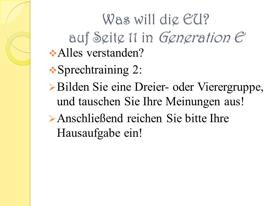 Was will die EU auf Seite 11 in Generation E
