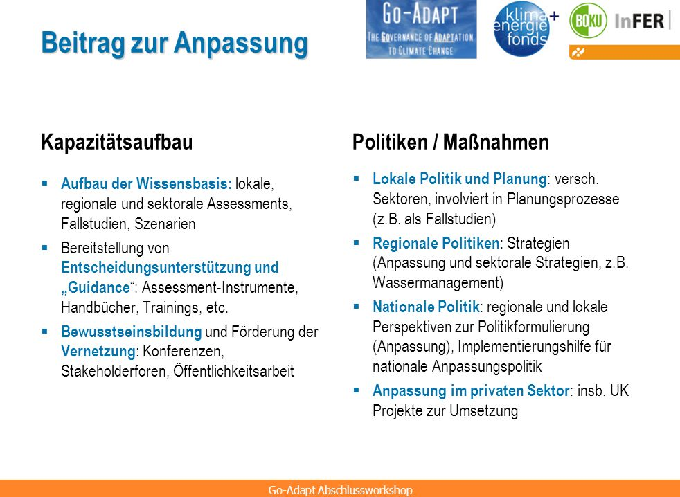 Beitrag zur Anpassung Kapazitätsaufbau Politiken / Maßnahmen