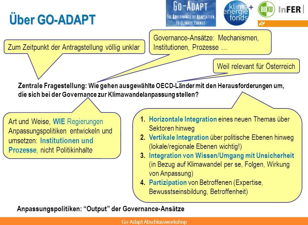 Über GO-ADAPT Governance-Ansätze: Mechanismen, Institutionen, Prozesse … Zum Zeitpunkt der Antragstellung völlig unklar.