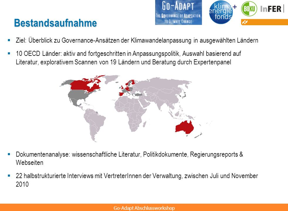 Bestandsaufnahme Ziel: Überblick zu Governance-Ansätzen der Klimawandelanpassung in ausgewählten Ländern.