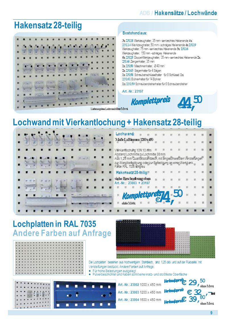 Lochwand mit Vierkantlochung + Hakensatz 28-teilig