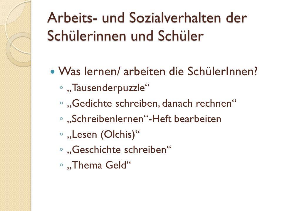 Arbeits- und Sozialverhalten der Schülerinnen und Schüler