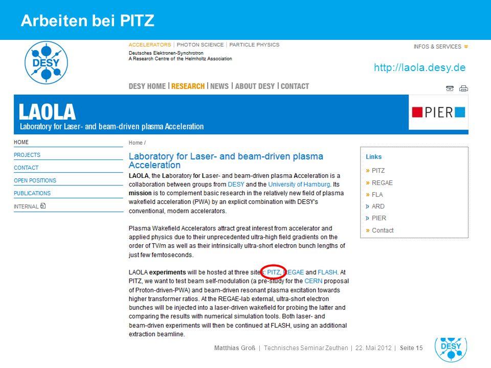 Arbeiten bei PITZ http://laola.desy.de